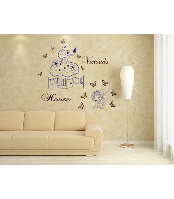 Little fairy and mushroom house personalized wall decal with child name on it, girl bedroom wall decor, wall graphics.