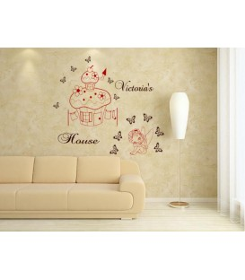 Little fairy and mushroom house personalized wall decal with child name on it.