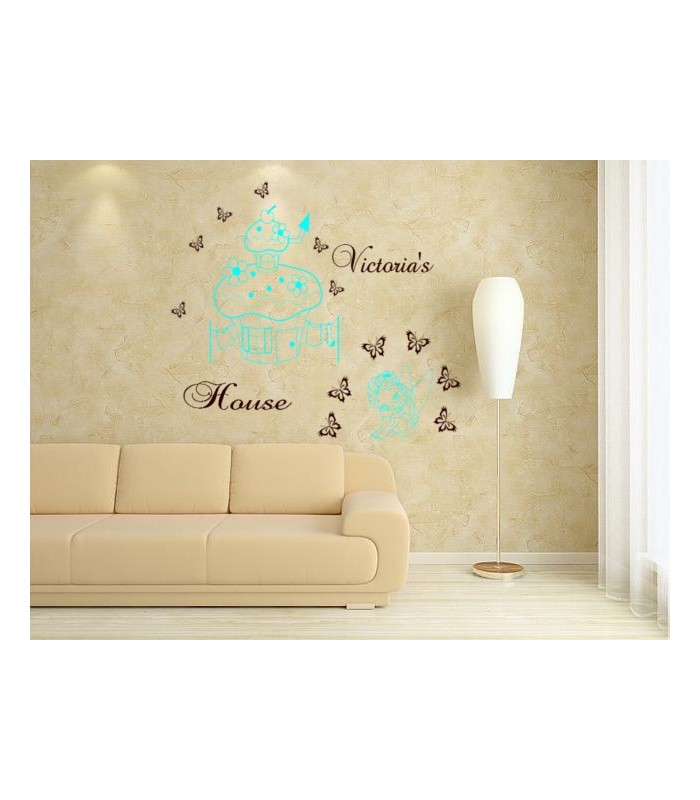 Little fairy and mushroom house wall sticker for girl bedroom.