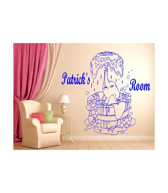 Little elephant personalized wall decal with child name on it, kids bedroom wall decor, wall graphics.