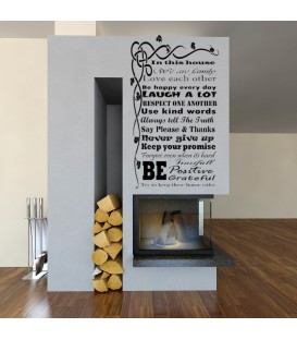 House Rules We ARE Family Quote sayings wall sticker.