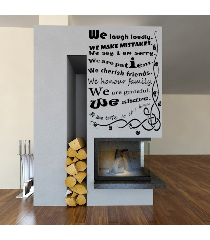 Our house rules quote wall sticker we are family wall decal for Home decor quotes on wall