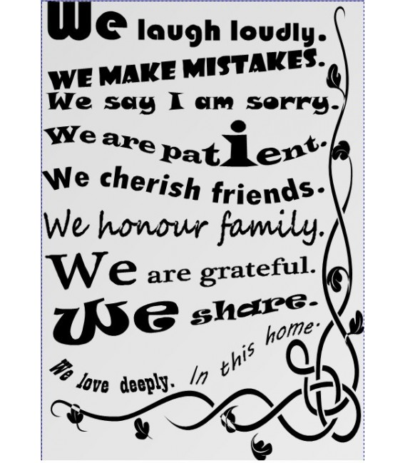 Our house Rules We ARE Family Quote sayings words home decor wall stickers art decals vinyl room decals.