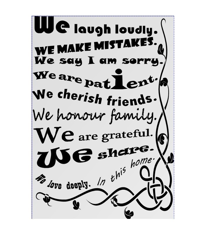 Our House Rules Quote Wall Sticker, We Are Family Wall Decal