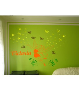 Fairy and butterflies personalized wall decal.