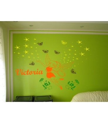 Fairy and butterflies personalized wall decal with child name on it, girl bedroom wall decor, wall graphics.