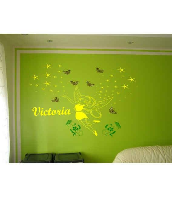 Fairy butterflies personalized wall decal with child name on it, girl bedroom wall decor, wall graphics.