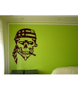Wall art graphics skull in USA flag kerchief vinyl wall art sticker.