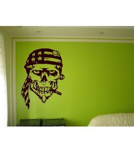 Wall art graphics skull in USA flag kerchief vinyl wall art sticker.