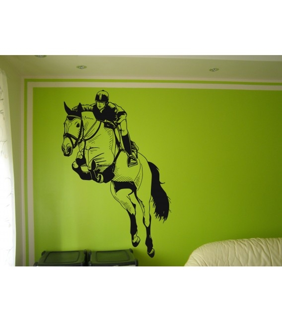 Wall art graphics jumping horse vinyl sticker.