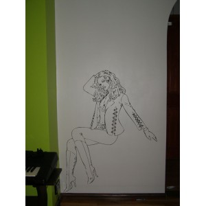 Sitting woman as wall art graphics living room vinyl wall decal.