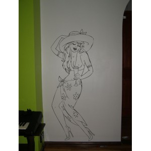 Woman in beach outfit as wall art graphics living room vinyl wall decal.