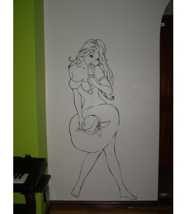 Woman with hat as wall art graphics living room vinyl wall decal.