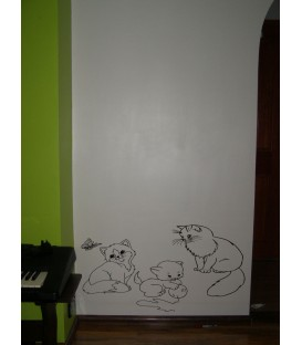 Cat family together wall art stickers, beloved cats wall decals.
