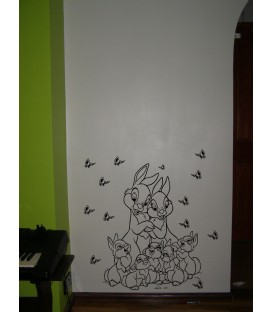 Rabbit family animal wall art sticker kit, rabbits wall decal, rabbits wall art graphics.