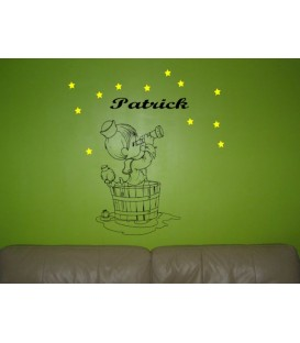 Boy with a telescope bedroom wall sticker, personalised wall art decal.