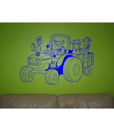 Animals on tractor personalised kids bedroom wall sticker kit, personalised wall art decal.