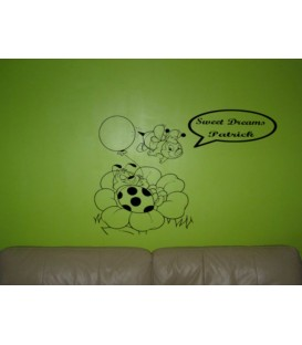 Sweet dreams Bee personalised bedroom wall sticker kit.