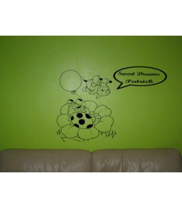 Sweet dreams Bee personalised bedroom wall sticker kit.