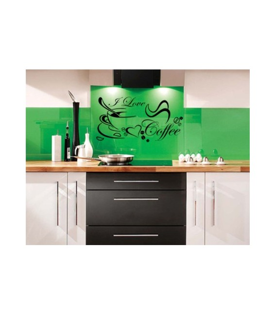 I love Coffee wall decal, self-adhesive kitchen wall art sticker.