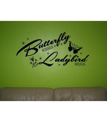 Butterfly and Ladybirds girls bedroom wall sticker kit, children bedroom decals.
