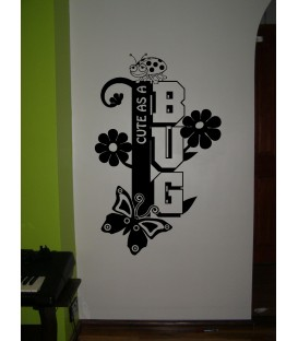 Cute as Bug girls bedroom wall sticker.