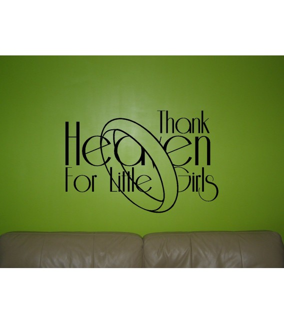 Thank you heaven for little girl quote girls bedroom wall sticker girl wall decal.