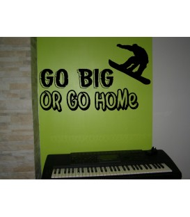 Go big or go home skateboard motto vinyl wall sticker.