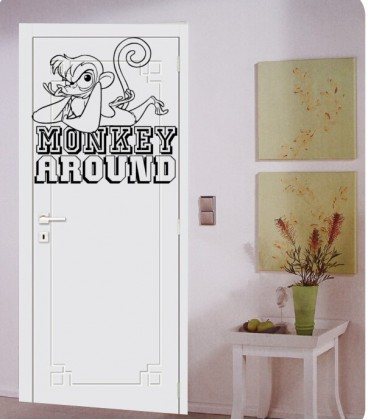 Monkey around  wall decor sticker, kids bedroom giant wall art sticker UK.
