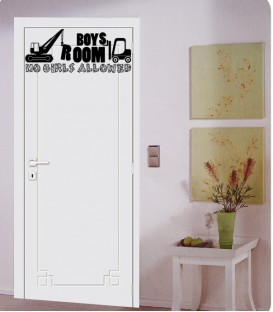Boys only girls keep out digger bedroom door sticker kit.