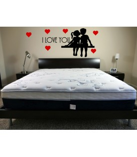 I love you PVC bedroom wall art stickers, romantic wall decals.