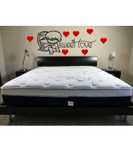 Sweet love PVC bedroom wall art stickers, romantic wall decals.