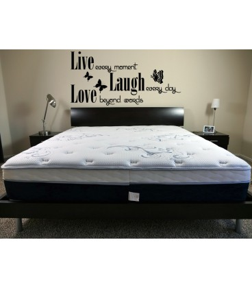 Live laugh love romantic wall art sticker, house rules wall decals, graphics.