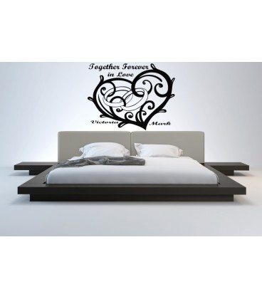 Heart and wedding rings personalised wall graphics sticker, love bedroom giant wall decal UK.