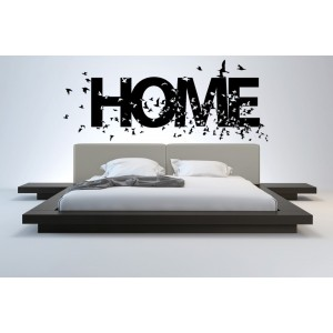 Home and birds wall decal, living room decorative wall sticker and graphics.