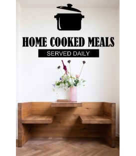 Home cooking meals served daily wall decal, dinning room wall sticker.