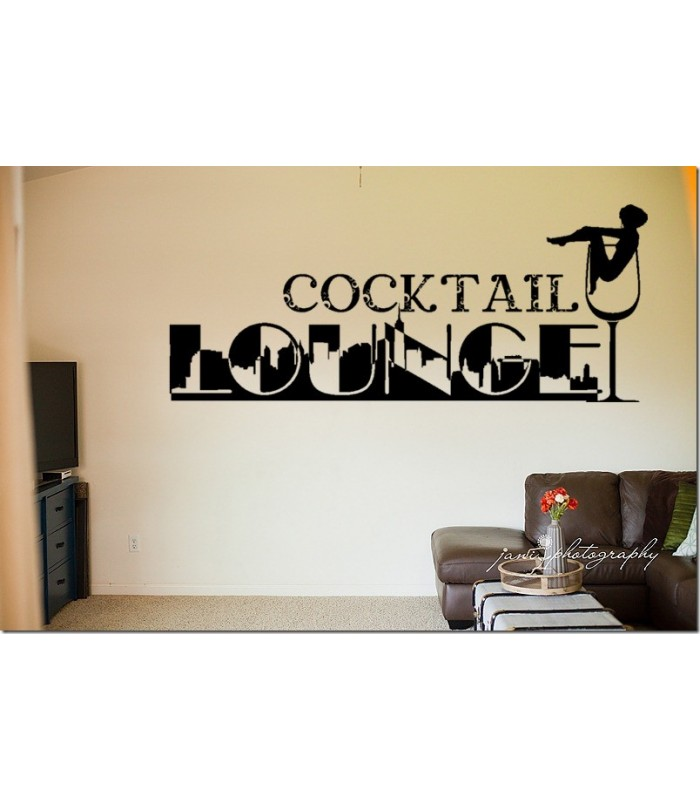 Longue coctkail wall decal for living room decoration for Wall stickers for living room malaysia