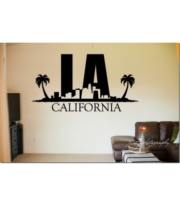 LA city skyline wall decal, living room wall sticker, wall graphics.