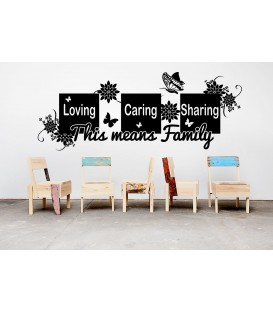 Loving caring sharing quote wall decal, living room wall sticker, wall graphics.