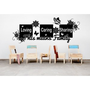 Loving caring sharing quote wall decal, living room wall sticker.