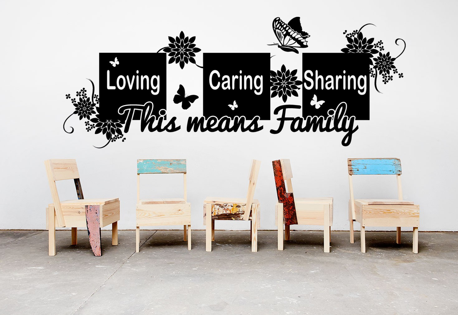 Loving caring sharing quote wall decal for living room decoration.