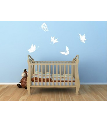 Five big butterflies wall art sticker, butterflies wall decals, graphics.