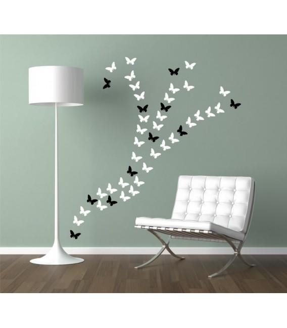 44 butterflies wall art sticker, butterflies wall decal.