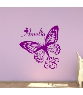Large personalised butterfly wall art sticker.