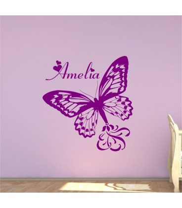 Personalised butterfly wall art sticker, butterfly wall decals, graphics.