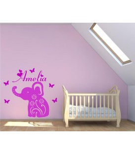 Baby elephant persanolised wall art sticker, wall decal.