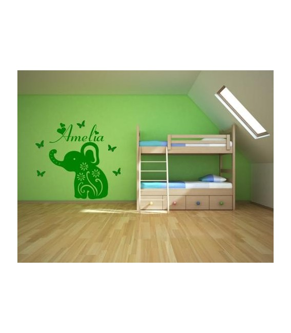 Baby elephant persanolised wall art stickers,wall decals.