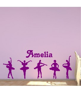 Balerinas personalised girls bedroom wall sticker kit, balletline decal.