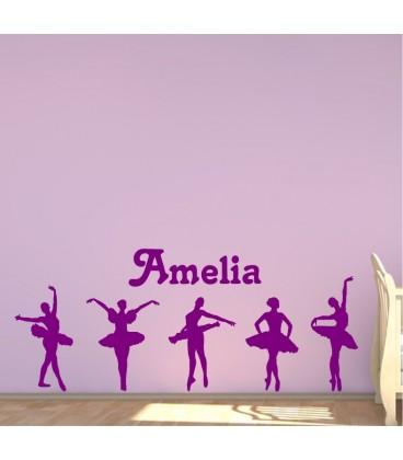 Balerinas personalised girls bedroom wall sticker kit, balletline decal.