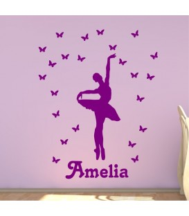 Ballerina and butterfly personalised girls bedroom wall sticker kit, balletline decal.